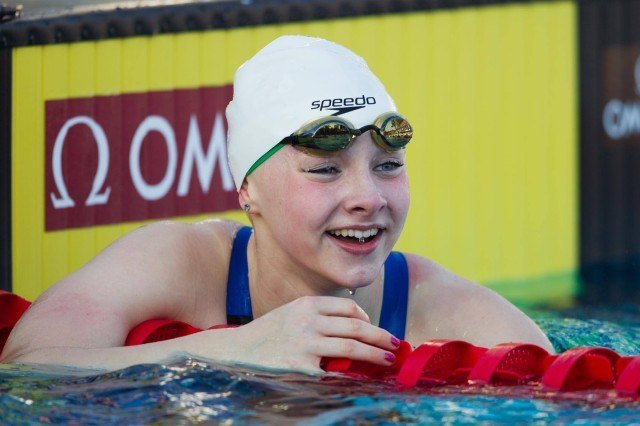 14-year old Emma Cain swam a 1:10.89 to win the B Final of the women's 100 breaststroke.