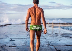 Image text: A print from the new Funky Trunks range that will give you plenty to talk about is Match Point. Need we say more?