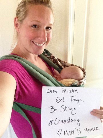 World Champion Mary DeScenza Mohler and her baby are #ChaseStrong (Photo Courtesy of The Smith Family and the #ChaseStrong Facebook Group)