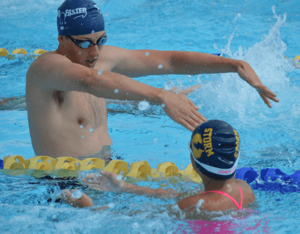 Fitter & Faster Swim Tour, Hialeah, FL: Tyler McGill demonstrates butterfly catch.