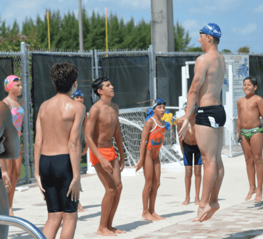 Fitter & Faster Swim Tour, Hialeah, FL:  Tyler McGill demonstrates an explosive vertical leap.