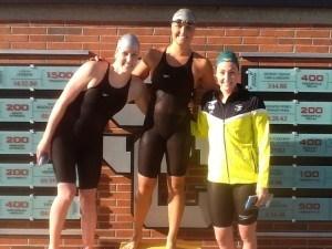 Women's 100 back podium L to R: Missy Franklin, Elizabeth Pelton, Mikkayla Sheridan. Photo: Anne Lepesant