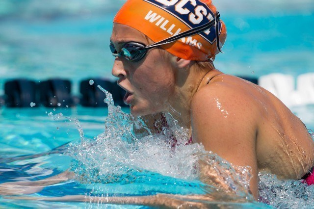 Kim Williams was the fastest prelims swimmer in the girls' 400 IM with a 4:45.97. (Courtesy: Tim Binning/TheSwimPictures.com)