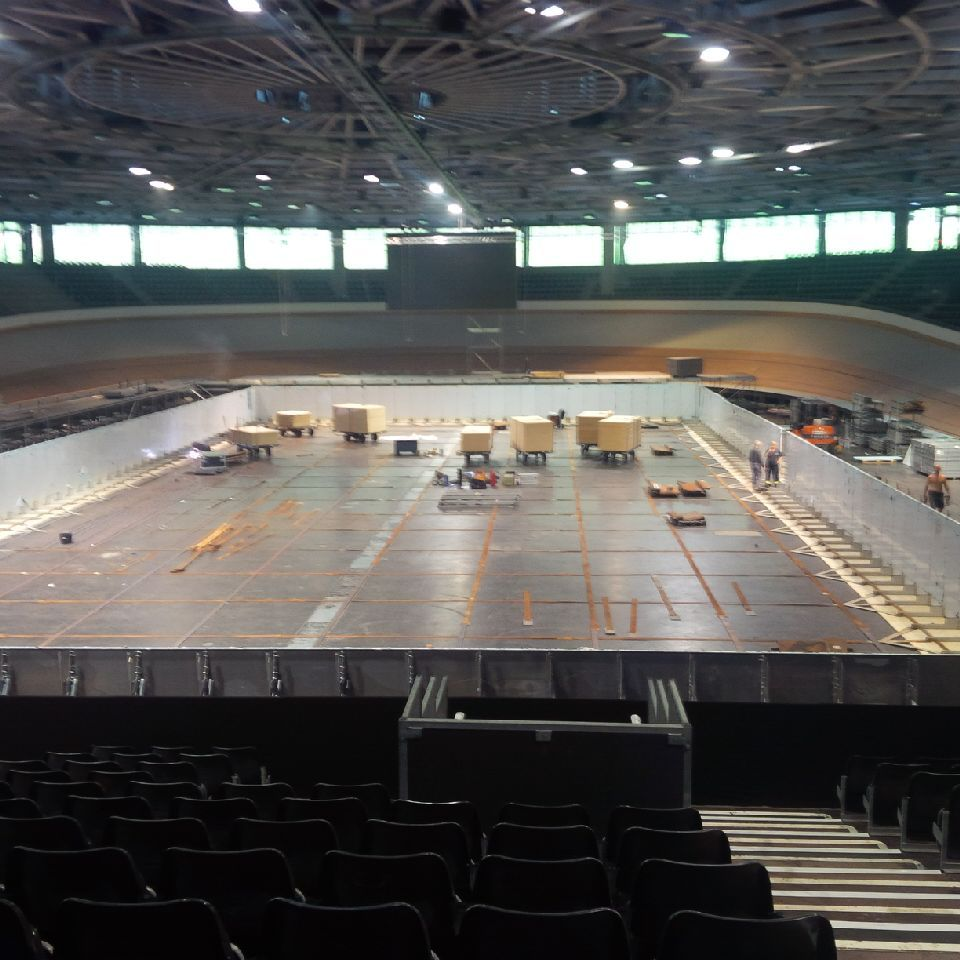 see images of transformation of berlin velodrome from cycling track to swimming pool. Black Bedroom Furniture Sets. Home Design Ideas