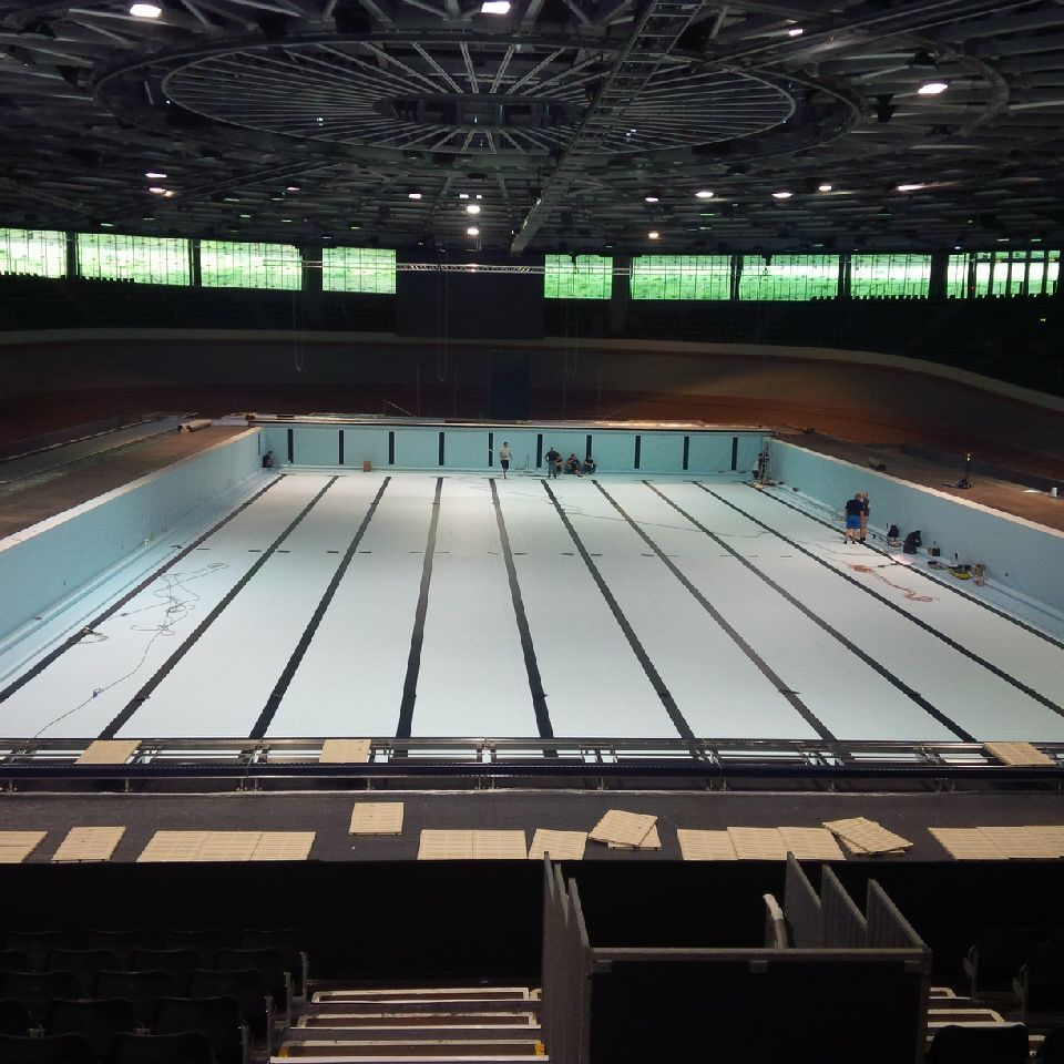 See Images Of Transformation Of Berlin Velodrome From Cycling Track To Swimming Pool