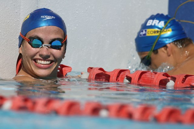Ana Carla Carvalho is relaxed during a pre-meet workout at the Gold Coast Aquatic Centre. Foto: Satiro Sodre/SSPress.