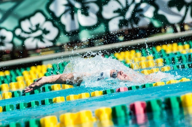 Andrew Selsikar on the backstroke leg of the men's 200 IM (photo: Mike Lewis, Ola Vista Photography)