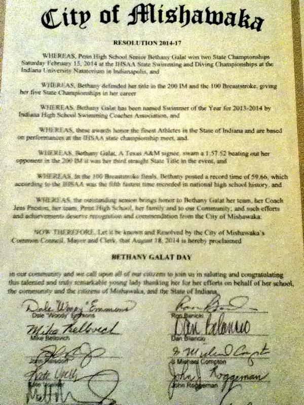 Galat was awarded the above resolution, signed by the mayor of Mishawaka and the city council, declaring it her day.