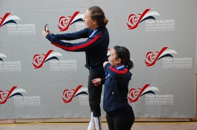 Alyssa Gialamas and Haley Beranbaum's podium selfie. Photo: Anne Lepesant