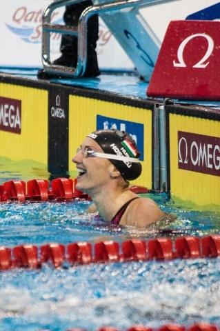 Hugnary's Katinka Hosszu celebrates a new World Cup Record in the 200 free on Wednesday: 1:51.84. Courtesy: FINA Mastbank World Cup - Doha