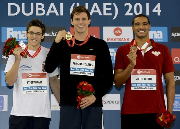 400 freestyle men from left Velimir Stjepanovic SRB, Thomas Fraser Holmes AUS, Ahmed Mathlouthi TUN FINA Mastbank Swimming World Cup 2014 Dubai, UAE  2014  Aug.31 th - Sept.1st Day1 - Aug. 31 heats Photo G. Scala/Deepbluemedia