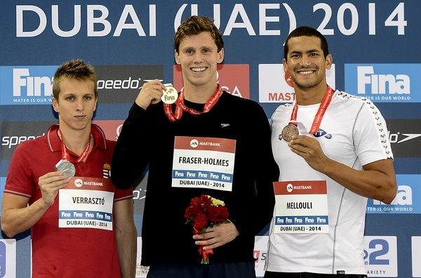 400 Individual Medley men from left David Verraszto HUN, Thomas Fraser-Holmes AUS, Oussama Mellouli TUN FINA Mastbank Swimming World Cup 2014 Dubai, UAE  2014  Aug.31 th - Sept.1st Day1 - Aug. 31 heats Photo G. Scala/Deepbluemedia