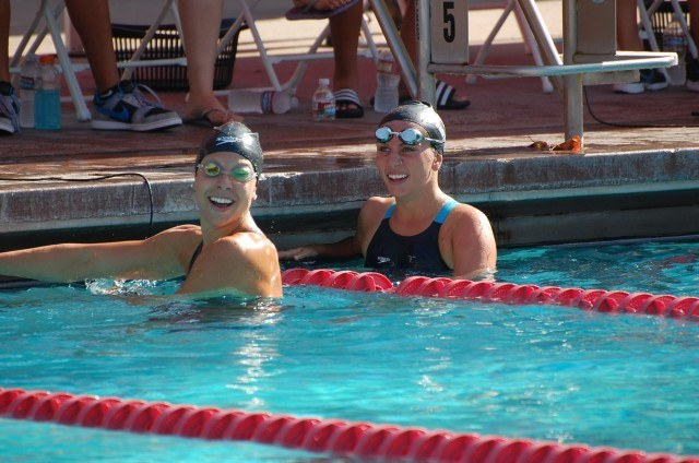 Americans Michelle Konkoly (1st) and Lizzi Smith (2nd) at the end of the women's 100 free S9 final. Photo: Anne Lepesant