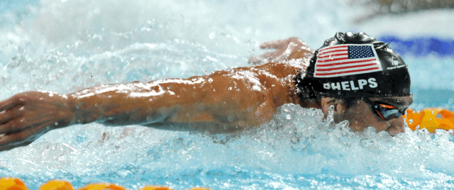 Michael Phelps swims 100 fly in his 1st international win  since his comeback - 2014 Pan Pacific Championships (courtesy of Scott Davis)