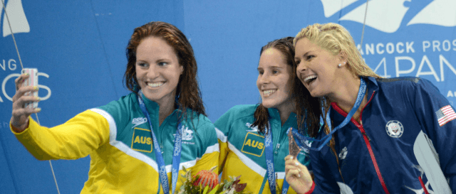 Emily Seebohm, Belinda Hocking, Elizabeth Beisel, 2014 Pan Pacific Championships (courtesy of Scott Davis)