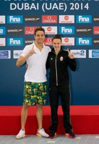 Chad le Clos & Katinka Hosszu - FINA Mastbank Swimming World Cup 2014 Dubai, UAE  2014 - Photo G. Scala/Deepbluemedia