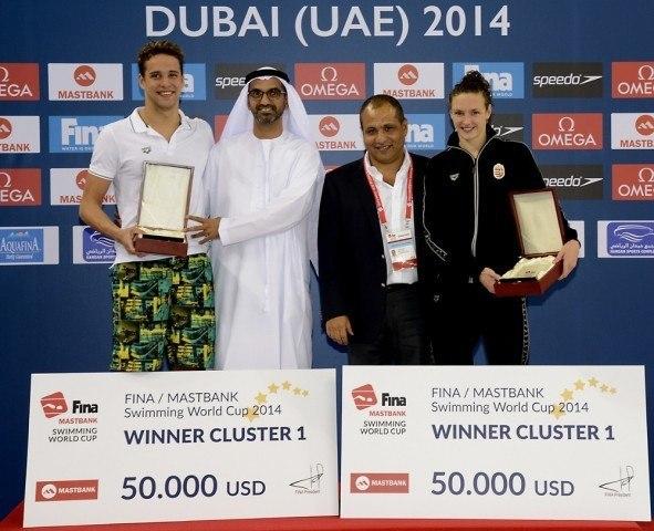 Chad Le Clos, Ahmed Al Falasi- President UAE Swimming Federation; Ayman Saad- Executive Director UAE Swimming Federation; Katinka Hosszu.