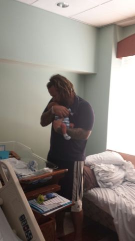 Jeremy Frioud and baby Bas Maxwell Frioud