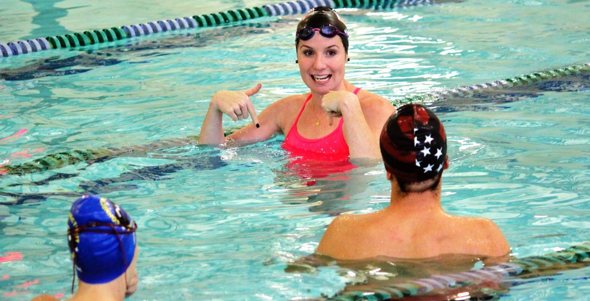 Kara lynn joyce working with swimmers on technique madison nj elite
