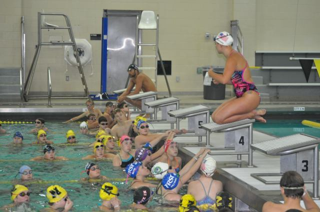 Noblesville, IN - Chloe Sutton explains drills to swimmers - Fitter and Faster Swim Tour presented by SwimOutlet.com