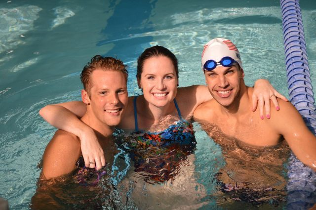 Oregon, WI - Tom Luchsinger, Kara Lynn Joyce, and Michael Weiss after the clinic - Fitter and Faster Swim Tour presented by SwimOutlet.com