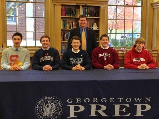 NLI Signing - Georgetown Prep - Adrian Lin with Carsten Vissering, Brandon Goldstein, Grant Goddard and Joey Snodderly.