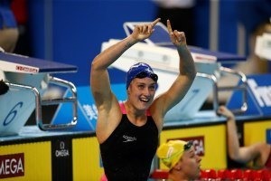 Mireia Belmonte celebrates her scm WORLD RECORD (courtesy of FINA)