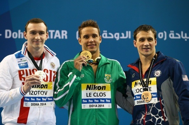 Chad le Clos 200m freestyle win, with Ryan Lochte (right, bronze) and  Danila Izotov (left, silver) (courtesy of FINA)