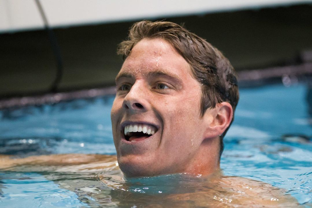 Conor Dwyer representing Club Trojan for the first time at Austin Arena Pro Swim Series