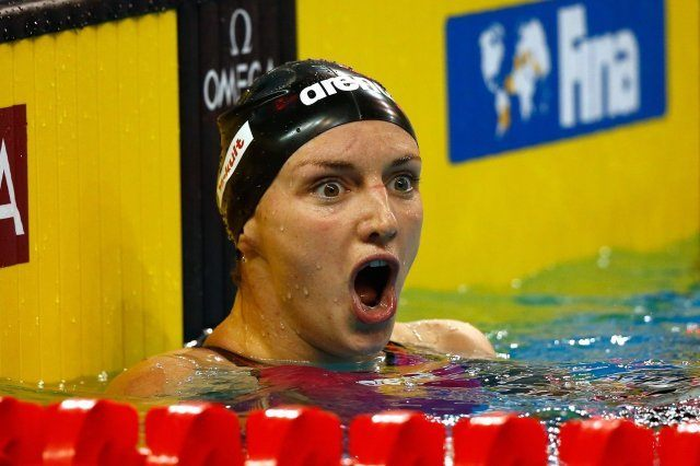 Katinka Hosszu - competes in the 100 back, break the World Record,   on day two of the 12th FINA World Swimming Championships (25m) at the Hamad Aquatic Centre on December 3, 2014 in Doha, Qatar (courtesy of FINA)