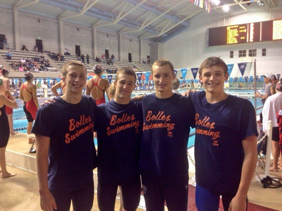 Bolles School Sharks boys break 15-16 NAG in 200 yard medley relay on Winter Juniors Opening Night