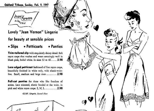 Jean Vernon – After WWII, the company starts manufacturing lingerie under the brand name Jean Vernon