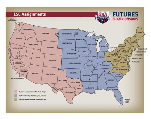 Boundaries for Futures Championships. Courtesy: USA Swimming