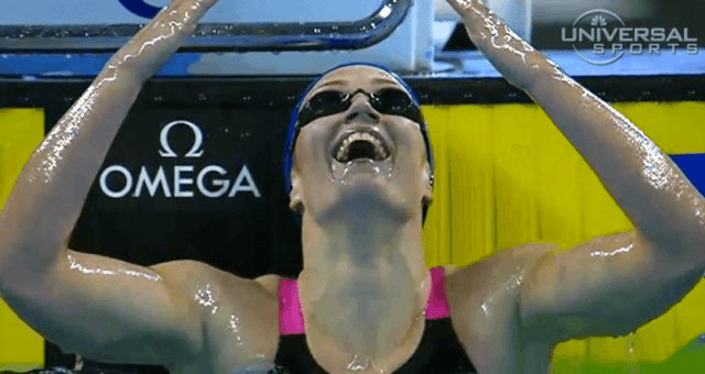 Mireia Belmonte - after her sub 4:20 400 IM scm WORLD RECORD (courtesy of USN)