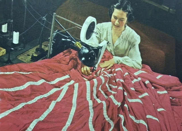 Sewing Parachute – Reading Air Chutes, Inc. earns awards for its production record of bomb and cargo parachutes during WWII.