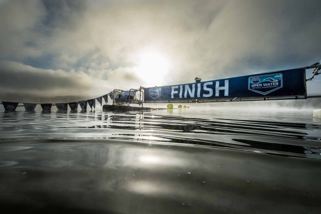 Despite the severe drought conditions in California the officials at Caustic Lake were able to release enough water to lower reservoir for the race.  This shot was taken the morning of the 10K before anyone had come on the course.  (photo: Mike Lewis, Ola Vista Photography)