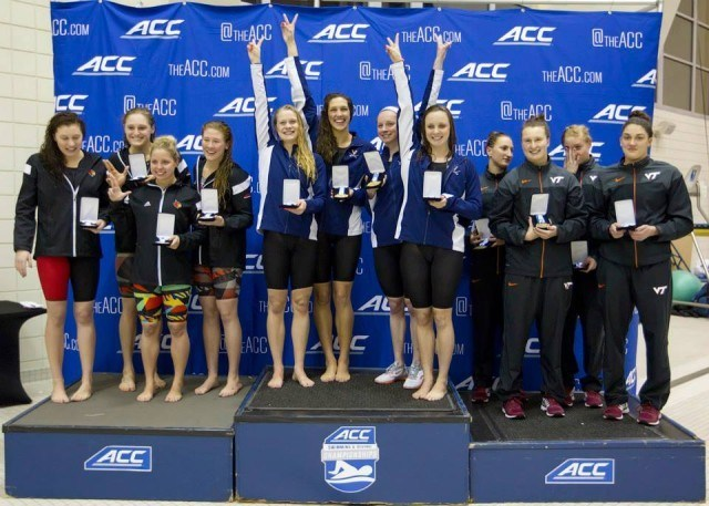 The medalists in the 400 medley relay. Courtesy of Todd Kirkland, theACC.com
