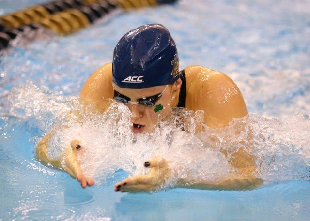 American record-holding breaststroker Emma Reaney of Notre Dame. Courtesy of Todd Kirkland, theACC.com