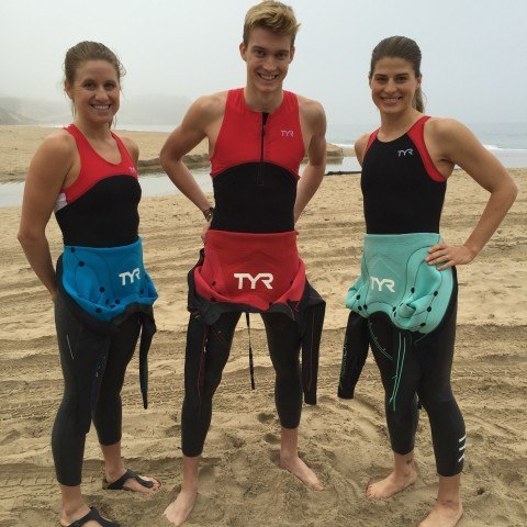 Triathletes Lauren Goss, Lukas Verzbicas and Sarah Groff up bright and early for a beach shoot in the Hurricane wetsuit.