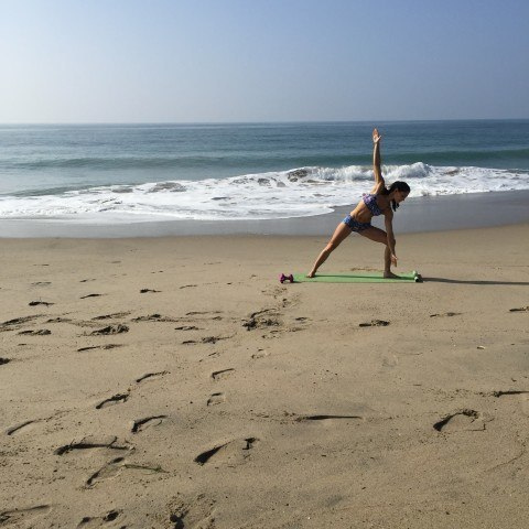 Beach yoga in the new Active line, Coral Bay suit.