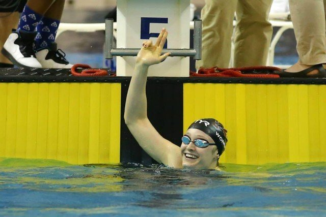 ACC 100 free champ and new meet record-holder Kelsi Worrell of Louisville. Courtesy of Todd Kirkland, theACC.com