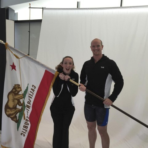 Claire Donahue and Josh Schneider showing their California pride.