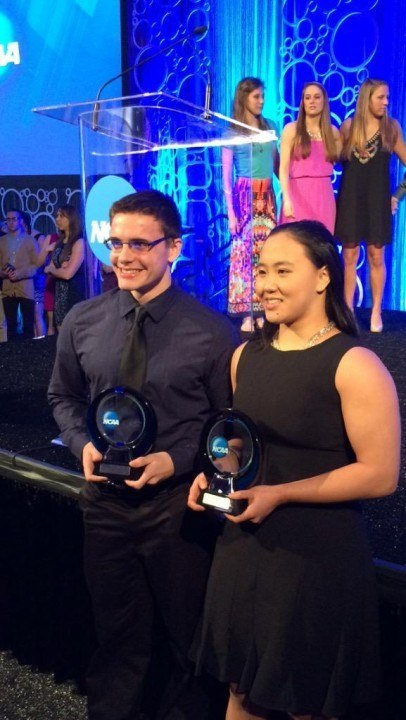 Brett Stoughton and Margaret Guo Recipients of the Elite 89 Award at NCAA D3 Champs