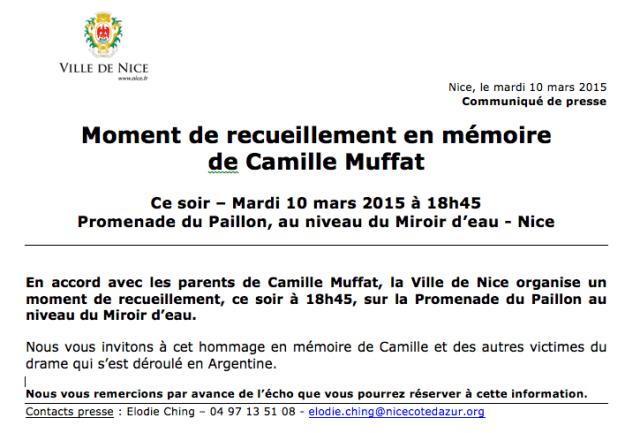 City of Nice vigil for Muffat