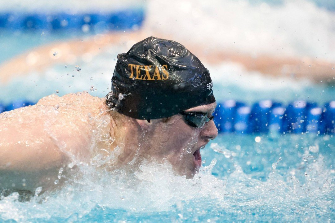 Texas' Jack Conger Scratches 100 Backstroke Preliminaries