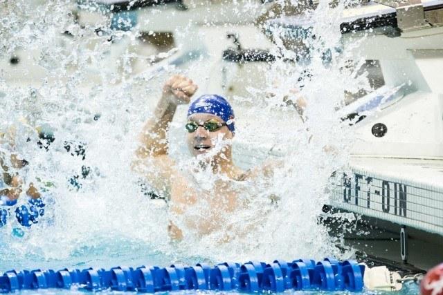 Caeleb Dressel - 2015 Men's NCAA Championships - 50 free winner (courtesy of Tim Binning, theswimpictures.com)