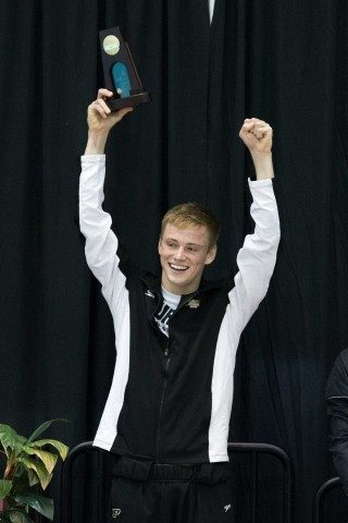 Steele Johnson (courtesy of Tim Binning, theswimpictures.com) is competing for his 2nd 2015 NCAA title tonight