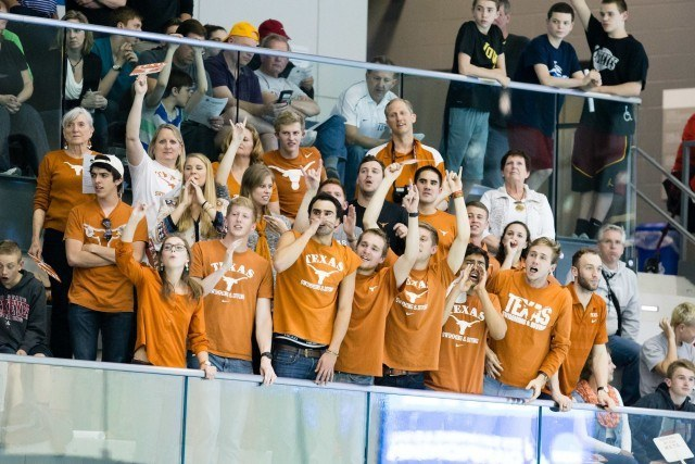 Texas in the stands at the 2015 Men's NCAA Championships (courtesy of Tim Binning, theswimpictures.com)