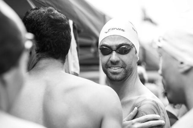 Anthony Ervin ready for the Olympic Club relay (Photo: Mike Lewis - Courtesy of U.S. Masters Swimming)