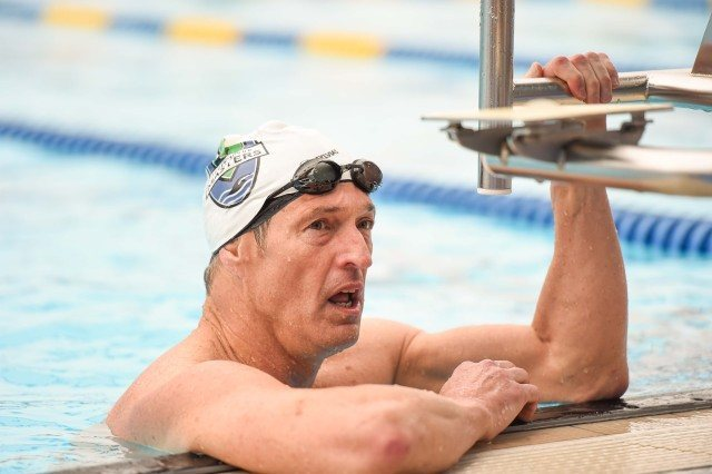 Olympian Rich Colella after his impressive 200 free (Photo: Mike Lewis - Courtesy of U.S. Masters Swimming)